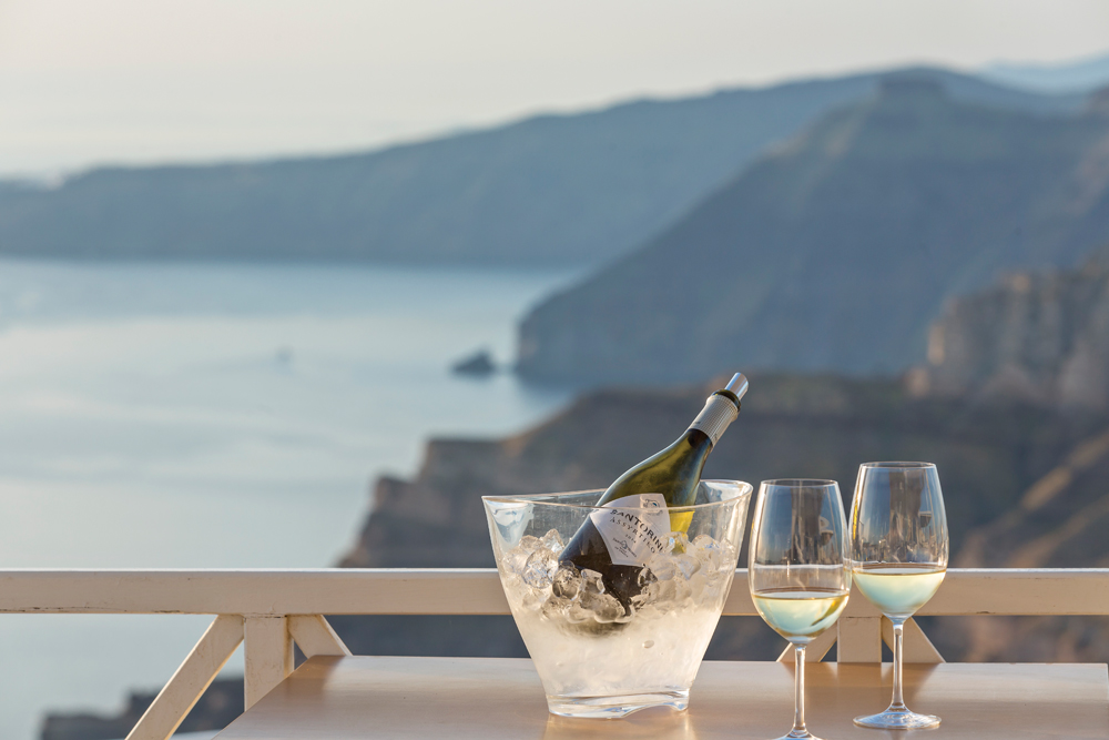 Santorini Ambient_view with Assyrtiko wine 3